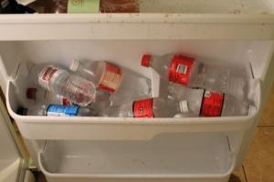 My bottled water stash.
