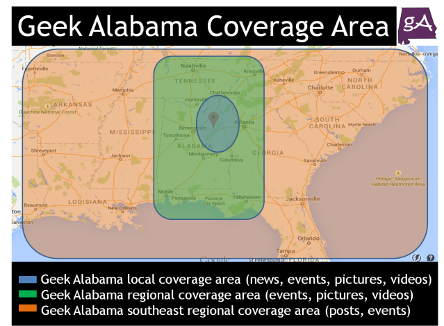 Geek Alabama Coverage Area
