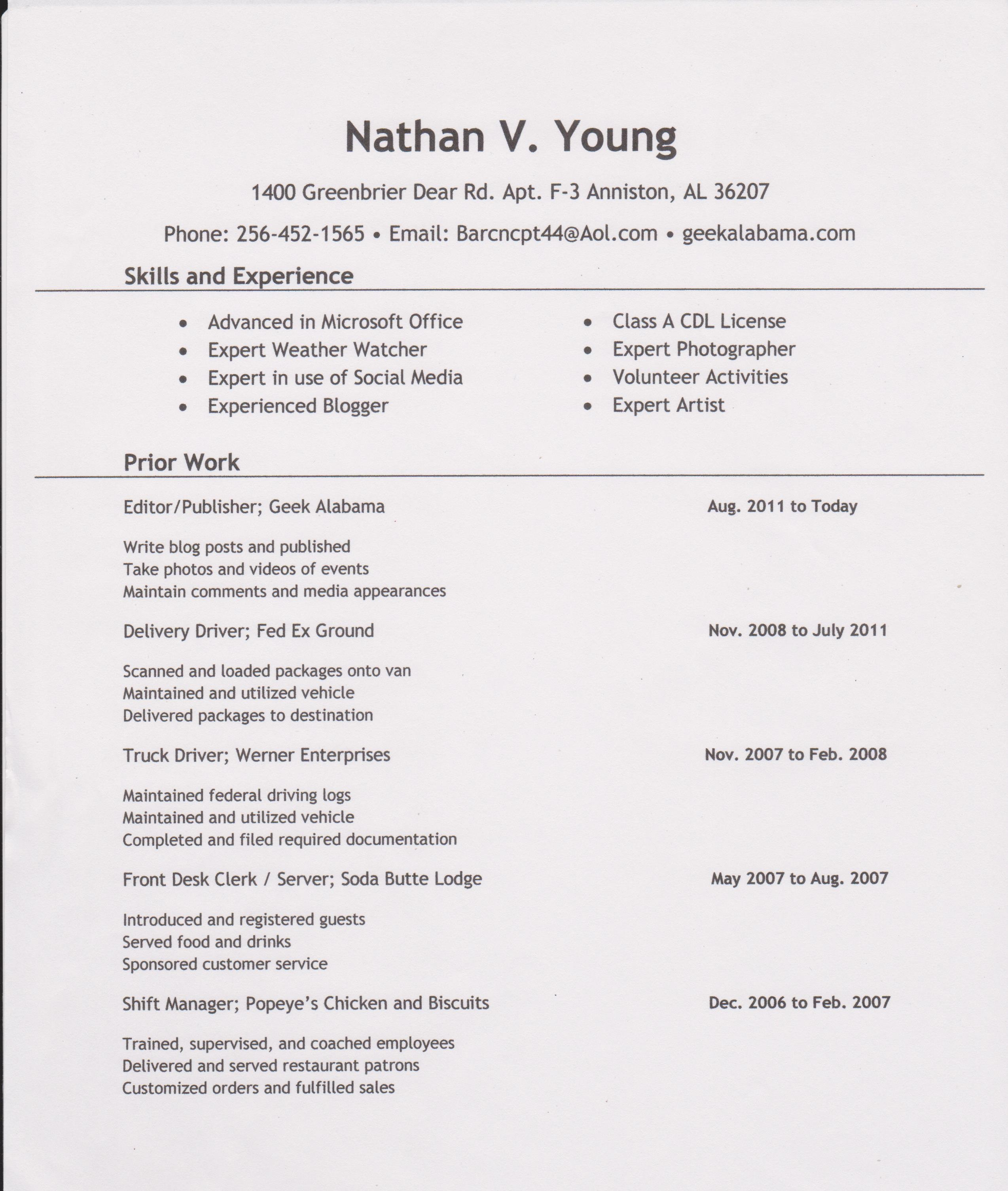 nathan alabama visual resume alabama