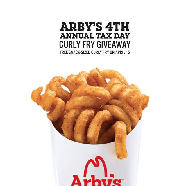 Anyone can go to Arby's on April 15th and get a free snack sized