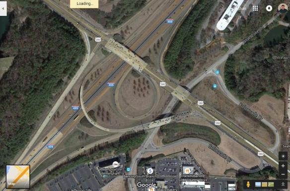 US 280 / I-459 interchange from Google Maps.